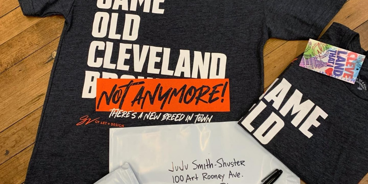 GV Art + Design claps back at JuJu Smith-Schuster with shirt after saying 'Browns is the Browns' before Steelers' playoff defeat