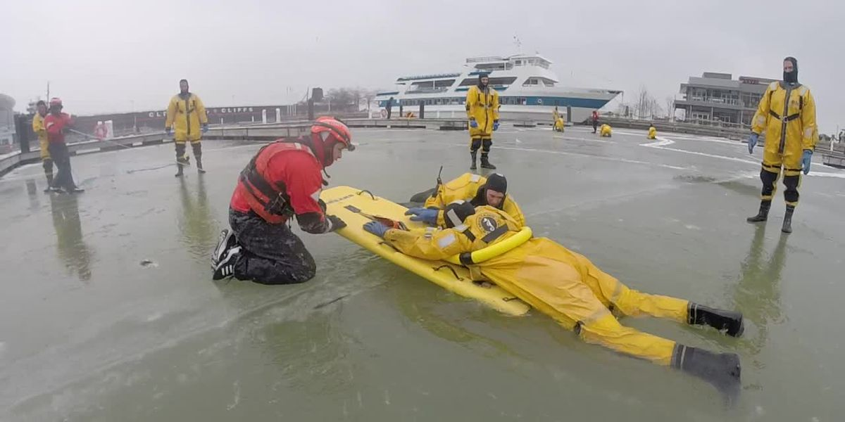 Cleveland firefighters and U.S. Coast Guard practice ice surface rescue (snackable)