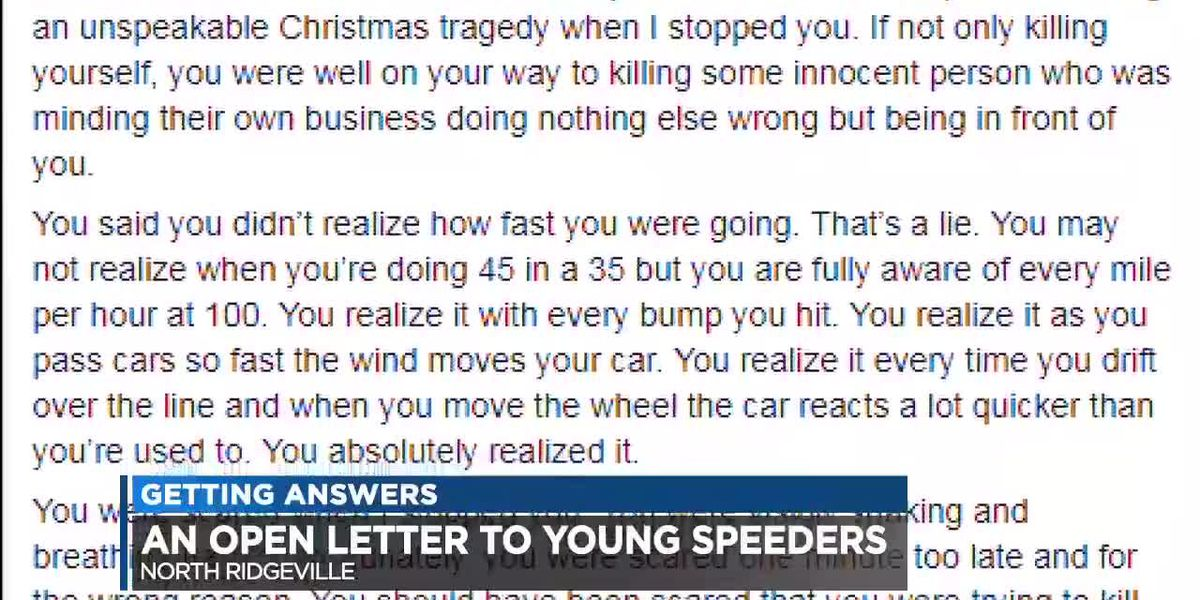 North Ridgeville Police officer writes open letter to 18-year-old caught driving at 100 mph