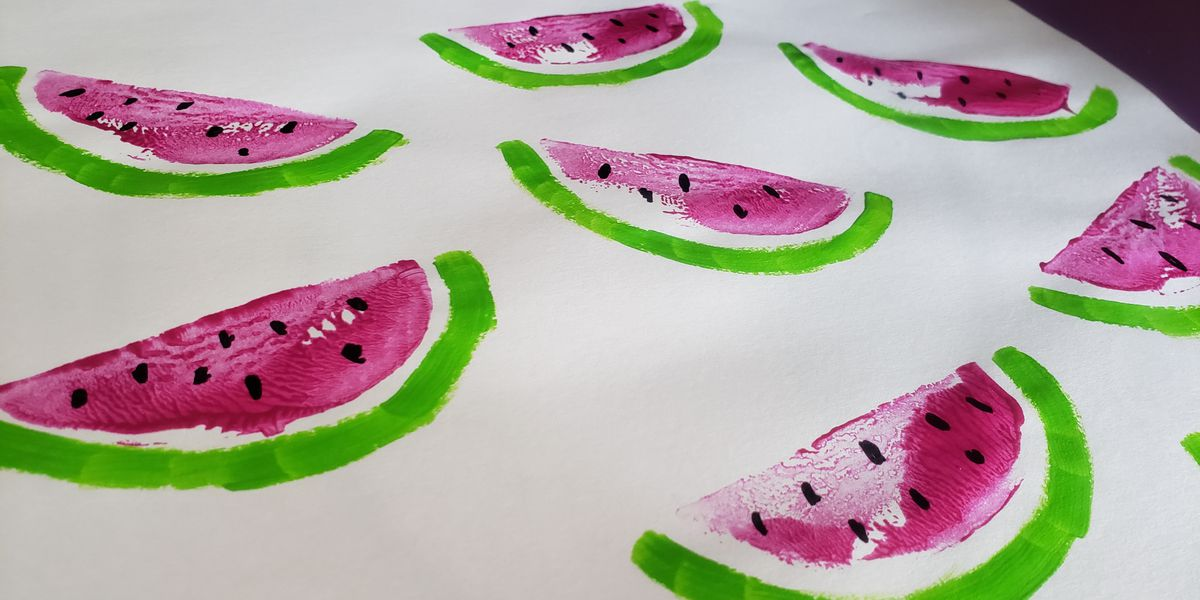 Family craft time! How to make Watermelon Stamps