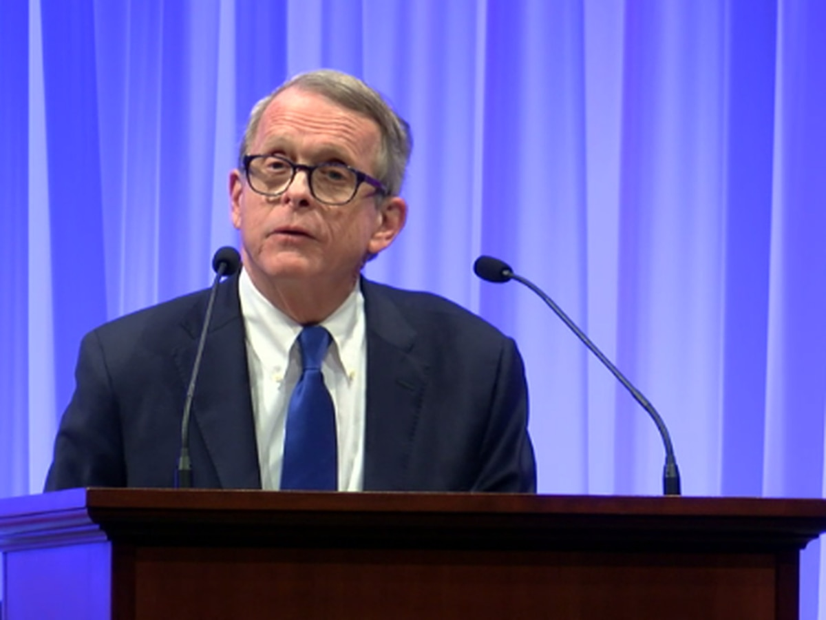 Ohio Gov. Mike DeWine speaks in Akron after meeting with CEO of GM