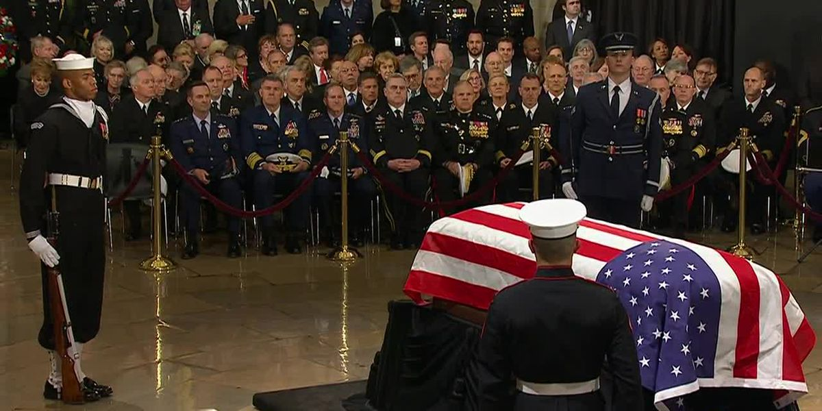 Funeral services for George H.W. Bush as nation bids farewell to former president