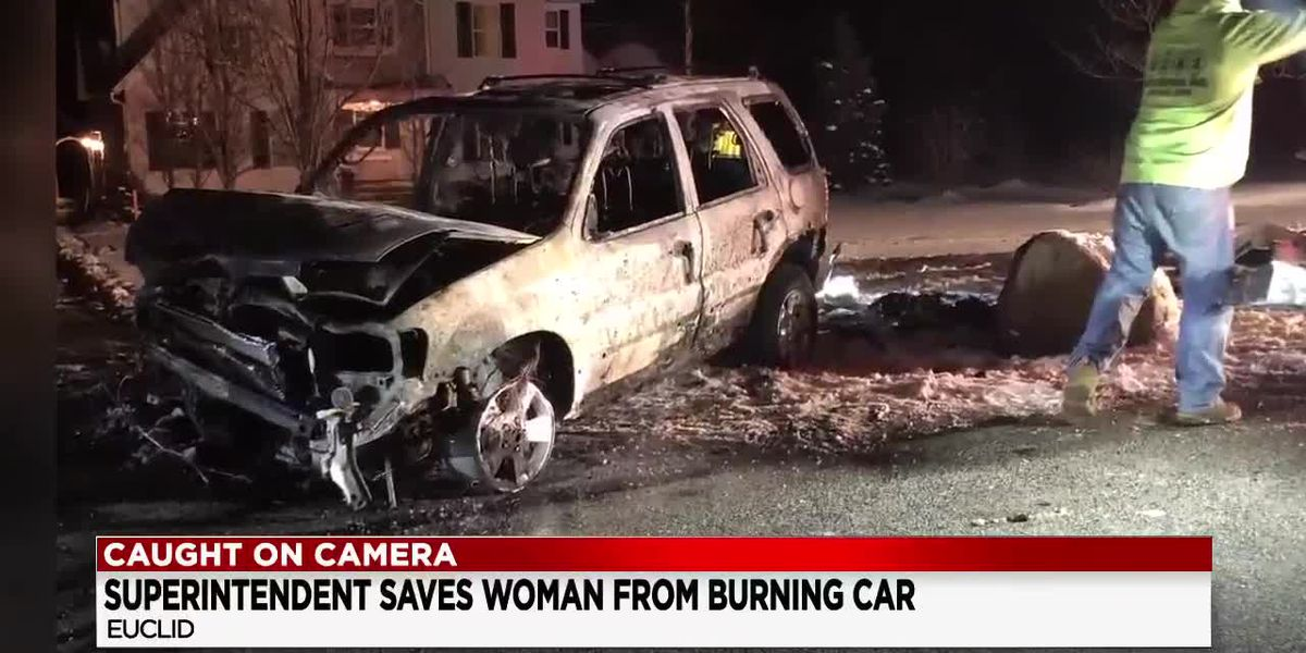 Euclid schools superintendent saves woman from burning car