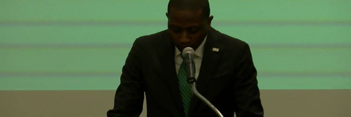 New CSU coach Dennis Gates emotional at podium