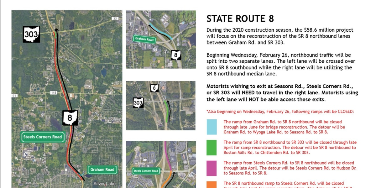 Stow Police said ramp closures for State Route 8 North in Stow will begin March 2