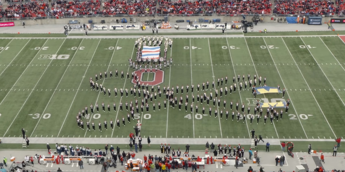 OSU Marching Band cuts Michigan flag in half during performance ahead of Buckeyes, Wolverines game (video)