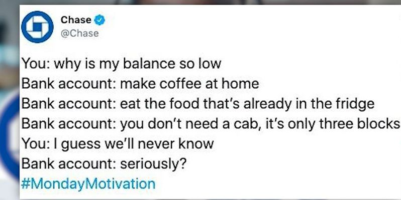 Chase Bank deletes #MondayMotivation tweet following backlash