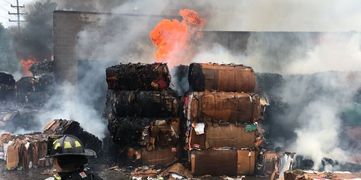 Two Cleveland firefighters hurt battling recycling plant on fire