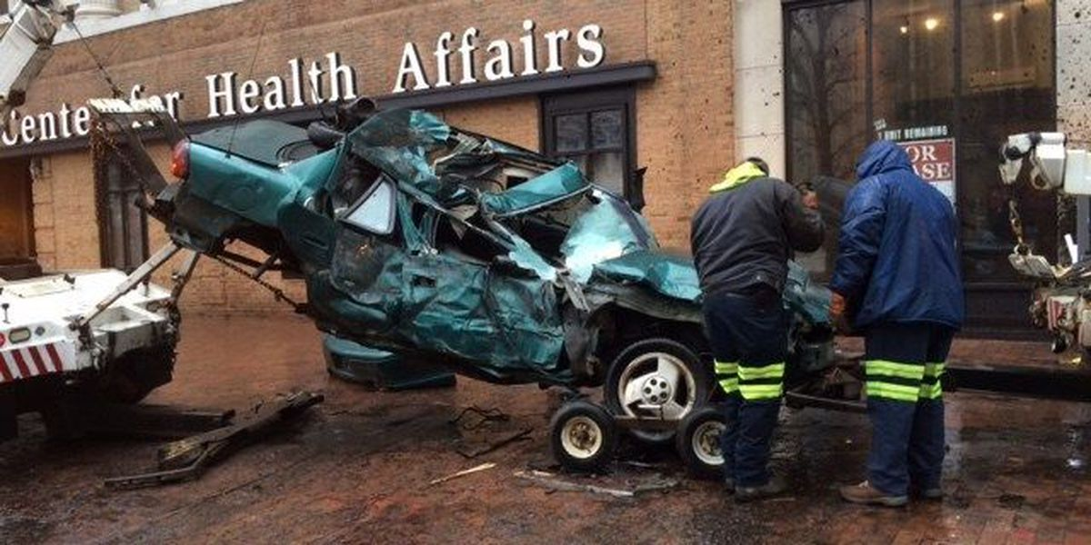 Driver in critical condition after crashing into downtown Cleveland building