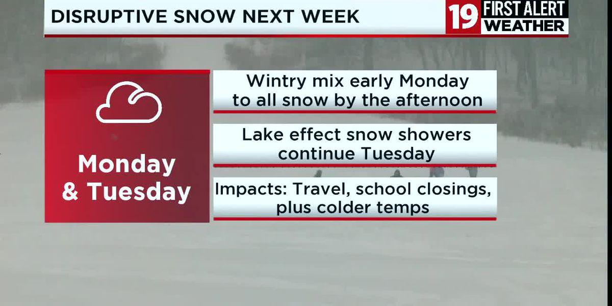 Northeast Ohio Weather: Mainly dry Sunday, snow returns Monday