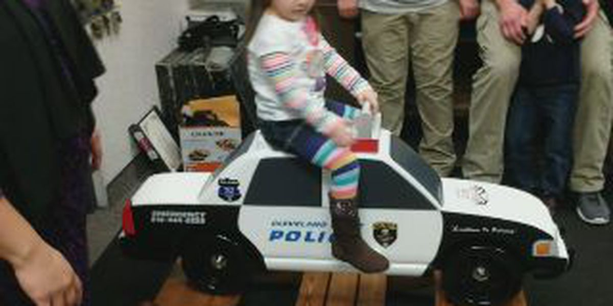 Company makes tribute police car rocker for fallen officer's daughter