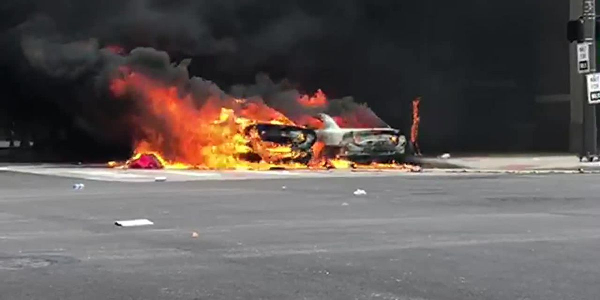 Cleveland Police cruisers set on fire during George Floyd protests downtown