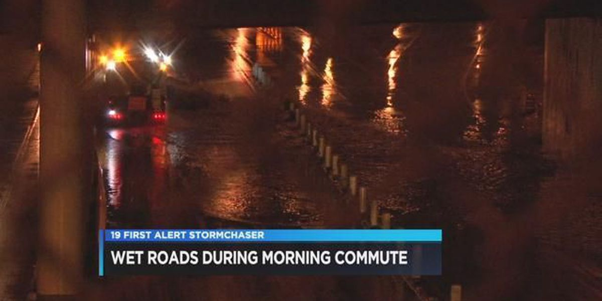 Wet roads for the morning commute