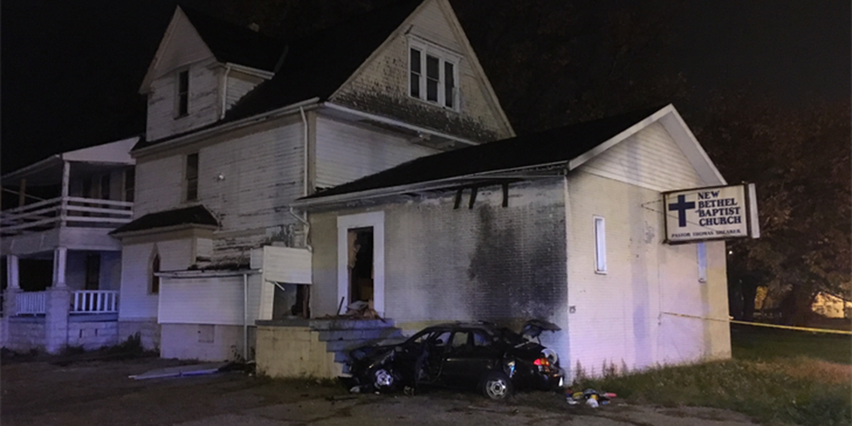 Update: One dead after shots fired into a car that crashed into a Cleveland church