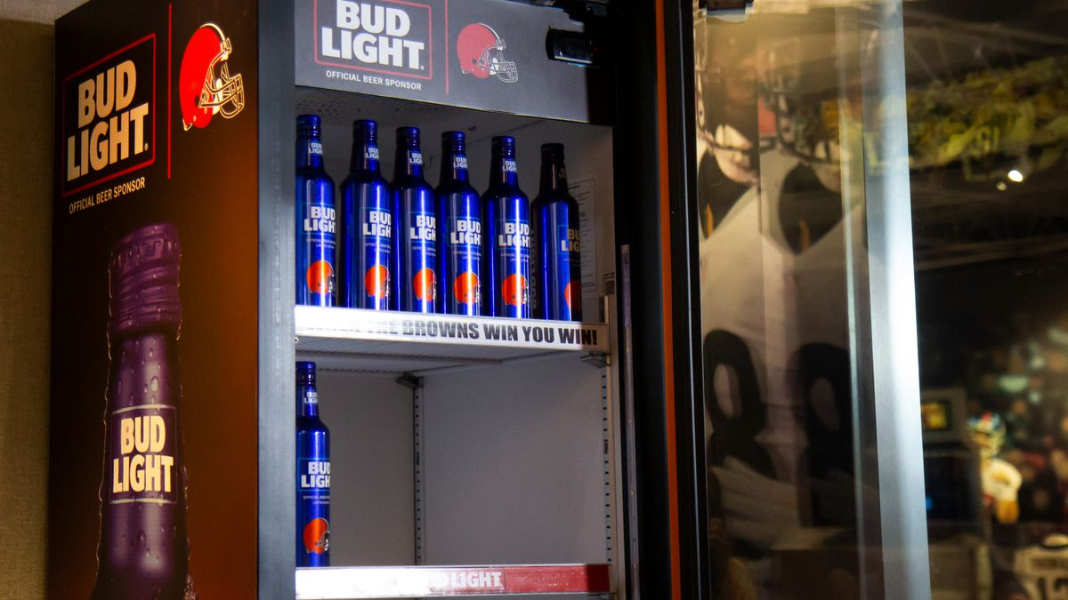 9cb821100c299 Cleveland Browns Bud Light Victory Fridge on display at Pro Football Hall  of Fame