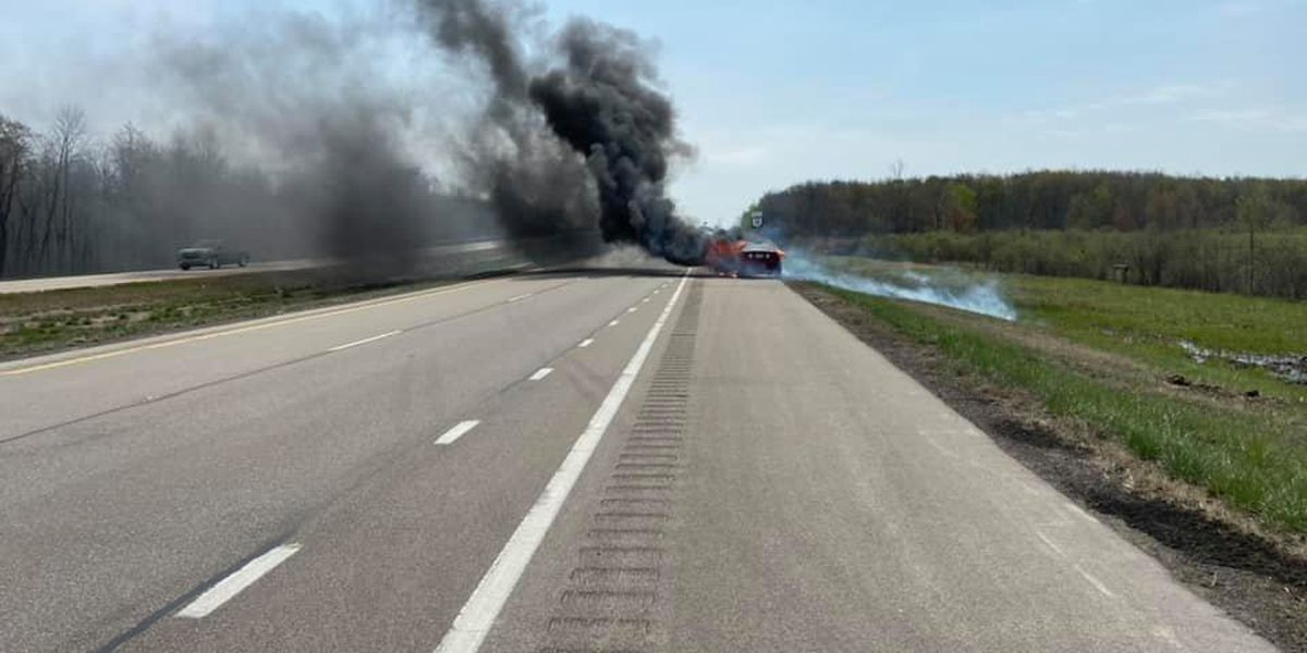 Fire crews extinguish car fire on State Route 11 in Plymouth Township