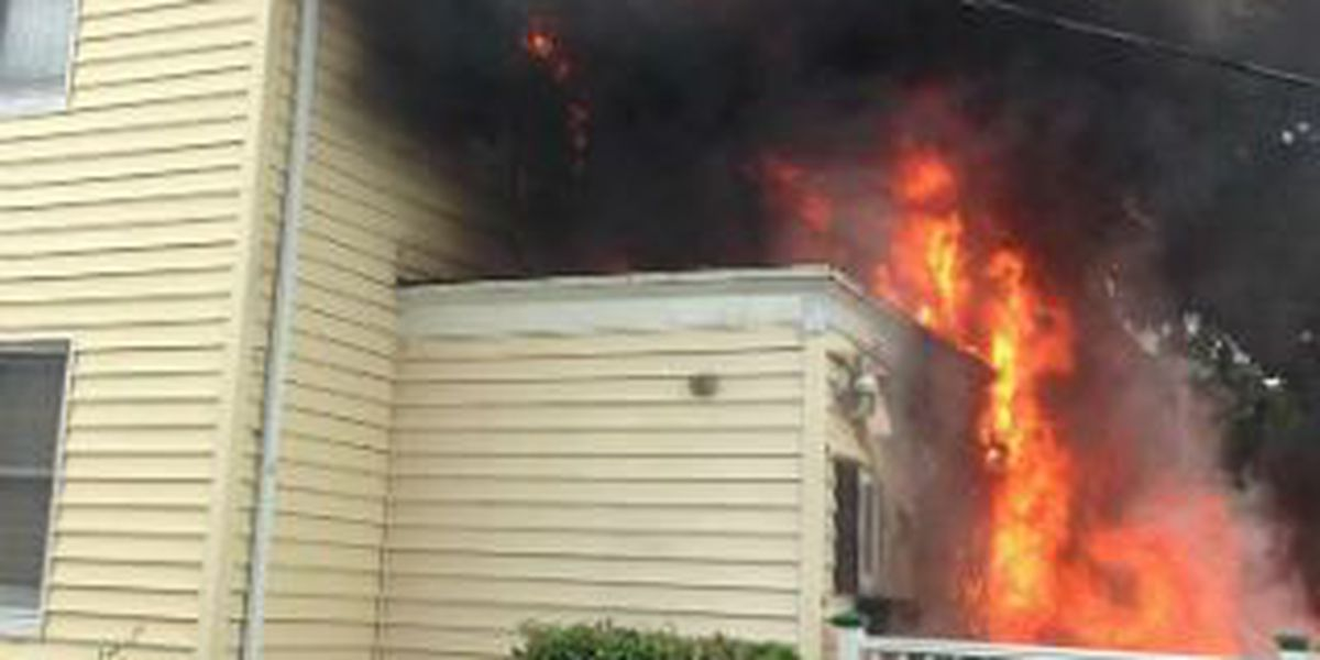 Off duty firemen rescue family dog from house fire