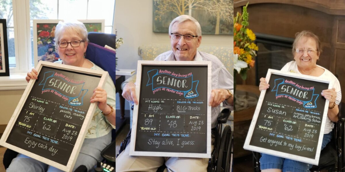 Mentor Ridge nursing home shares 'first day of school' pictures of residents for their senior years