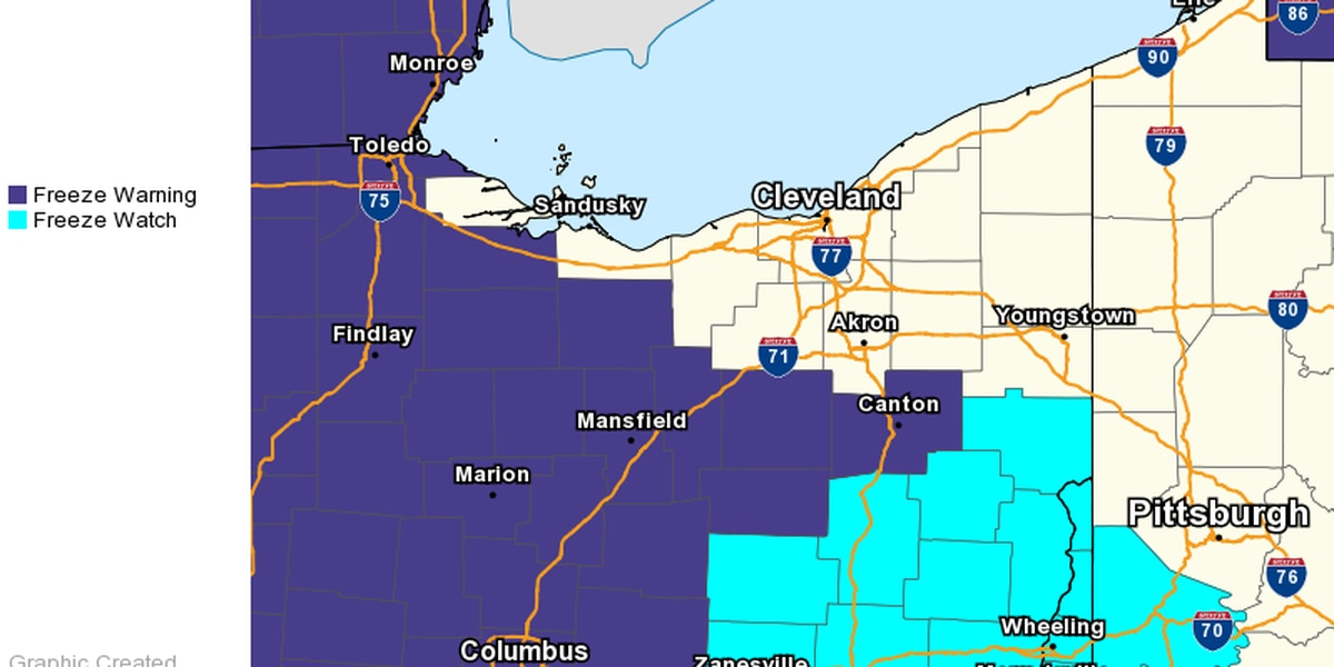 Freeze warning, watch issued for parts of Ohio