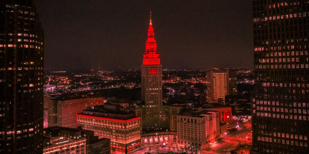 Why is Cleveland's Terminal Tower red tonight?