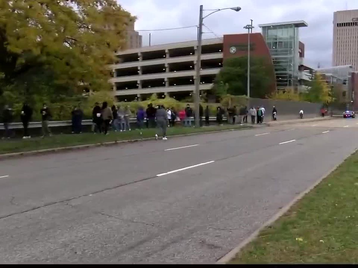Voters practiced patience during long lines outside of the Cuyahoga County Board of Elections building