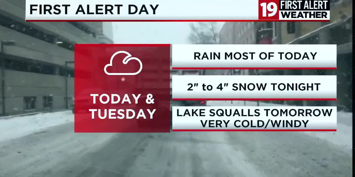 19 First Alert Weather Days: Rain turns to snow on Monday with more accumulation Tuesday