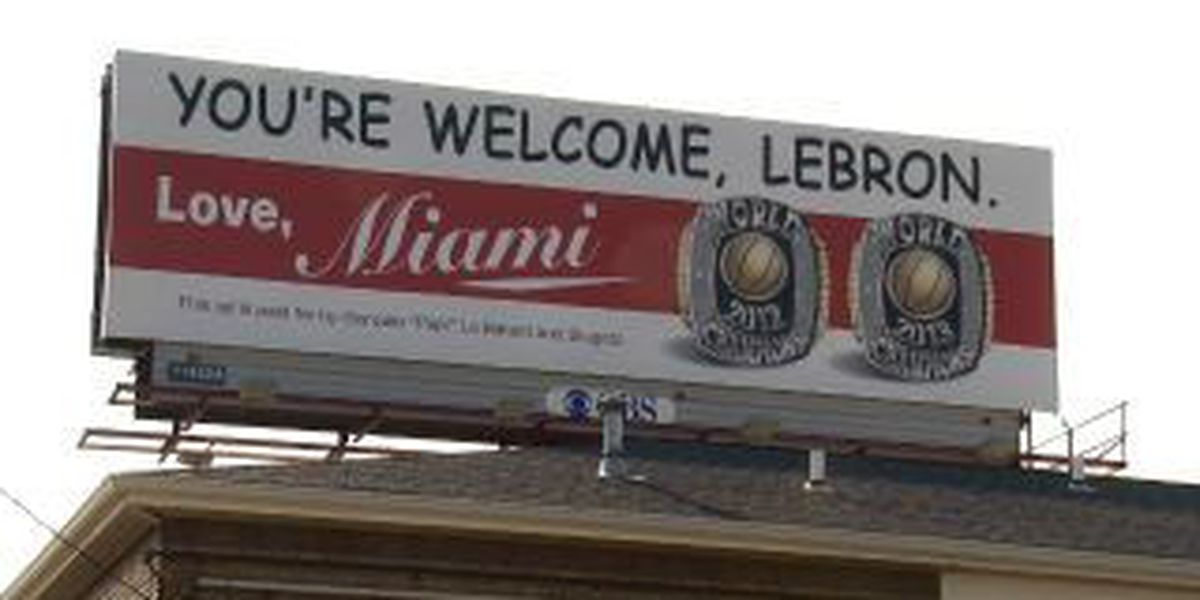 Miami sportscaster puts up taunting billboard in Akron