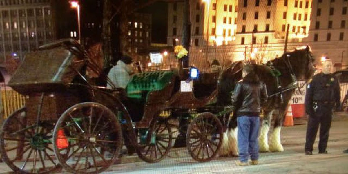 Horse carriage overturns in downtown Cleveland