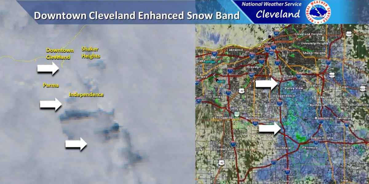 Heat and steam from industries near Cleveland helped cause today's snow
