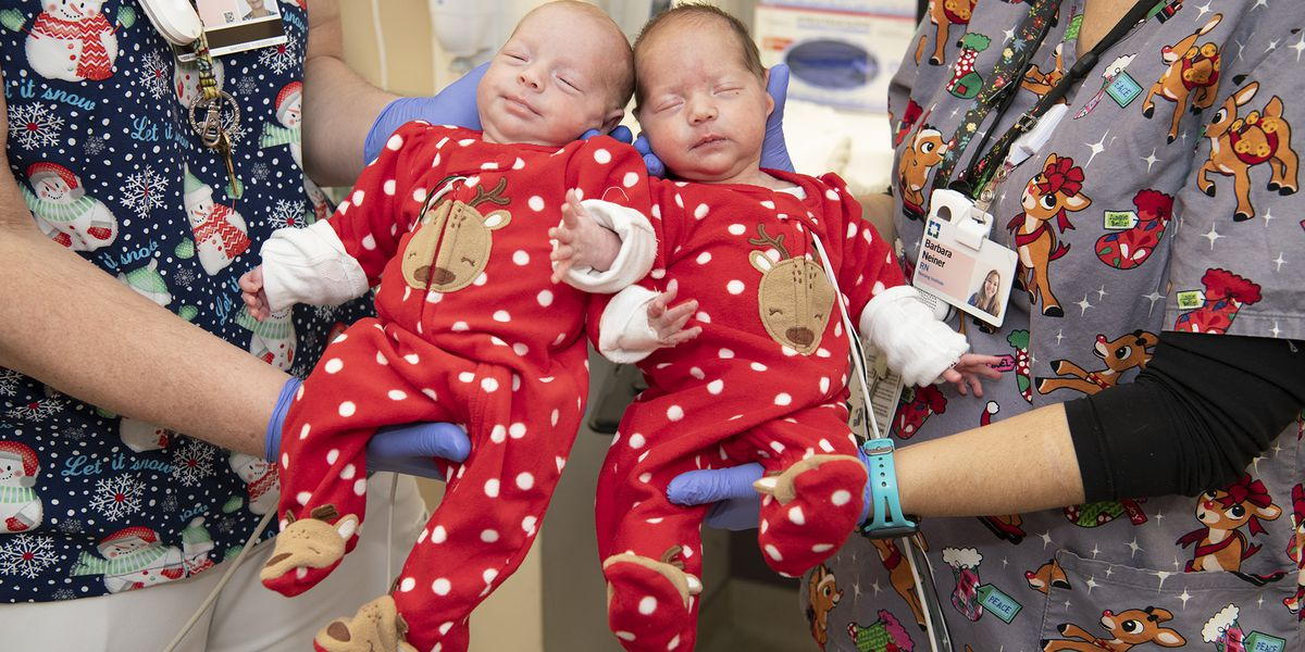 Babies spending holidays at Cleveland Clinic get festive jammies