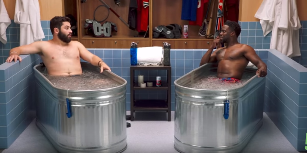 Baker Mayfield talks Cleveland Browns with Kevin Hart in comical ice bath interview