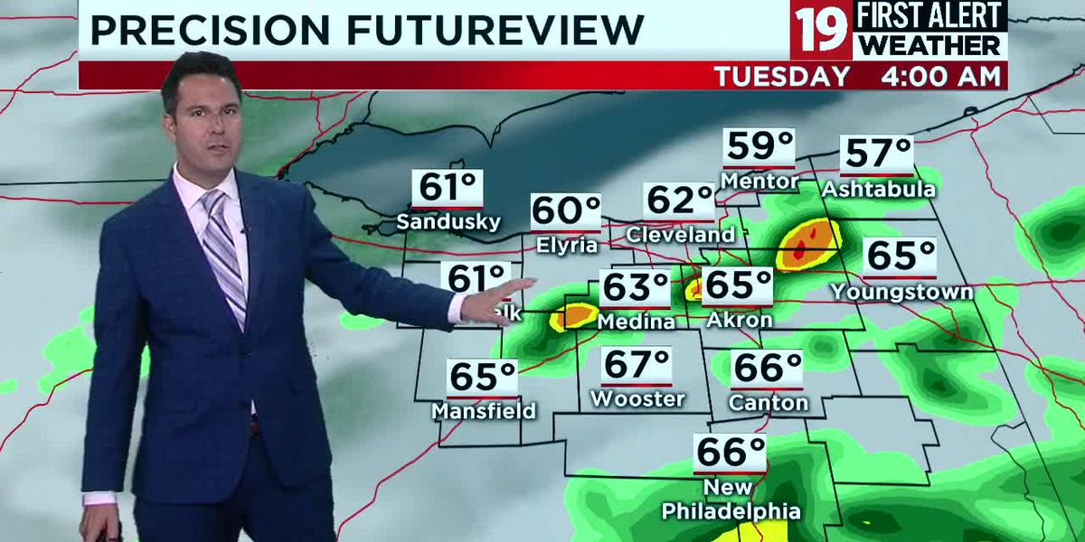 19 First Alert Weather: More storms possible overnight, mainly south of Cleveland