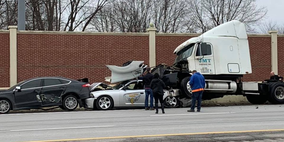 UPDATE: OSHP trooper injured during 8-vehicle, chain reaction crash on I-77 near Canton