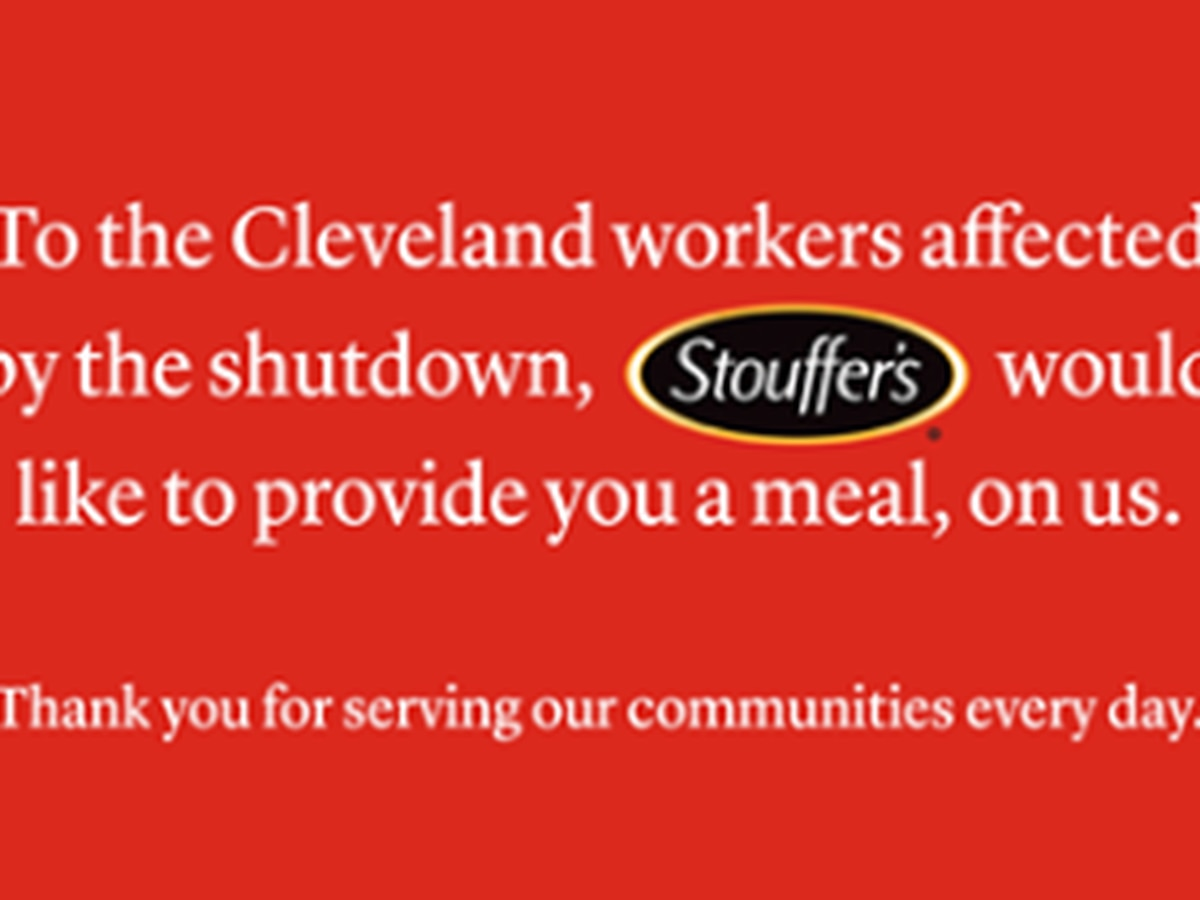 Stouffer's providing free meal to federal workers in Cleveland area affected by the shutdown