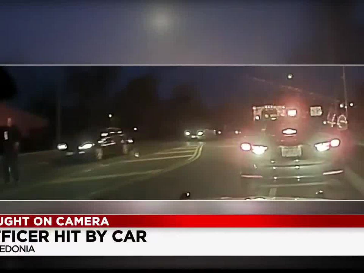 Dashcam: Macedonia officer lucky to be alive after getting hit by distracted driver (graphic)