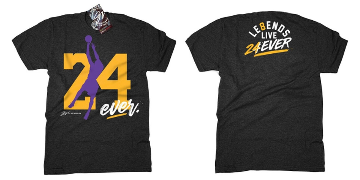 All proceeds from GV Art & Design's shirt paying tribute to Kobe Bryant will be donated to his charity