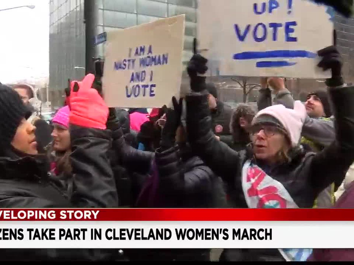 Dozens brave the cold for the 4th annual Women's March in Cleveland