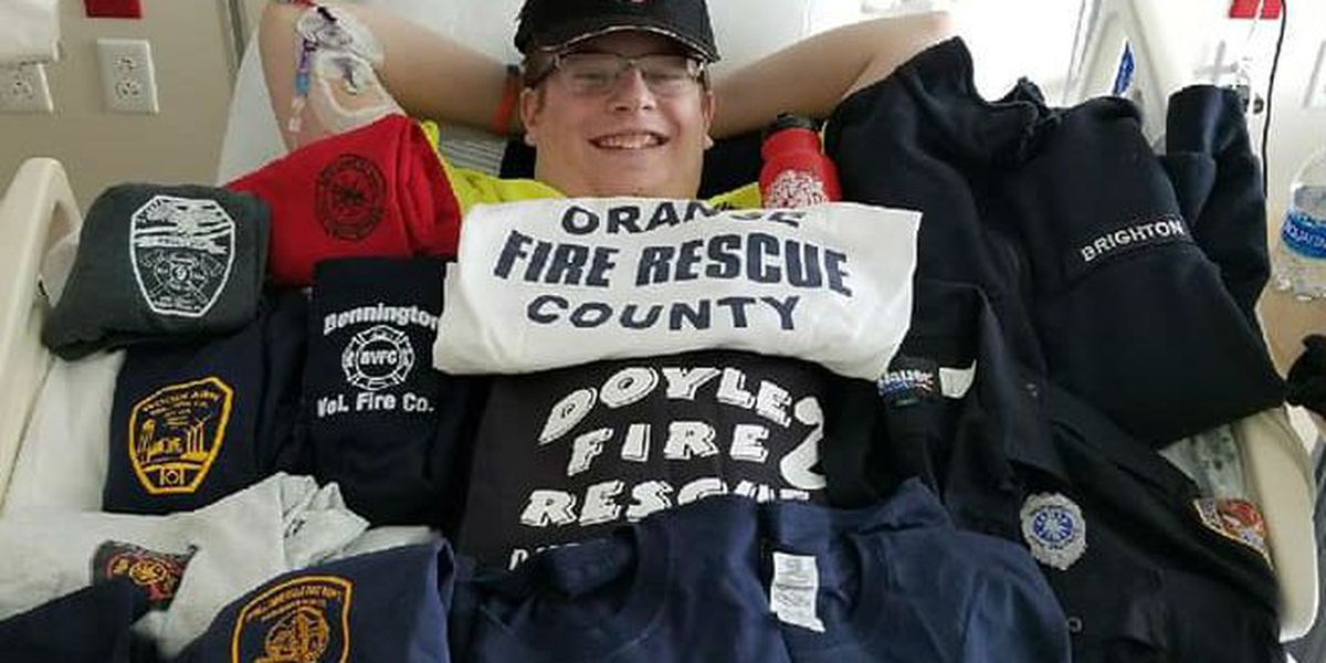 Teen firefighter with cancer asks for shirts from other firefighters
