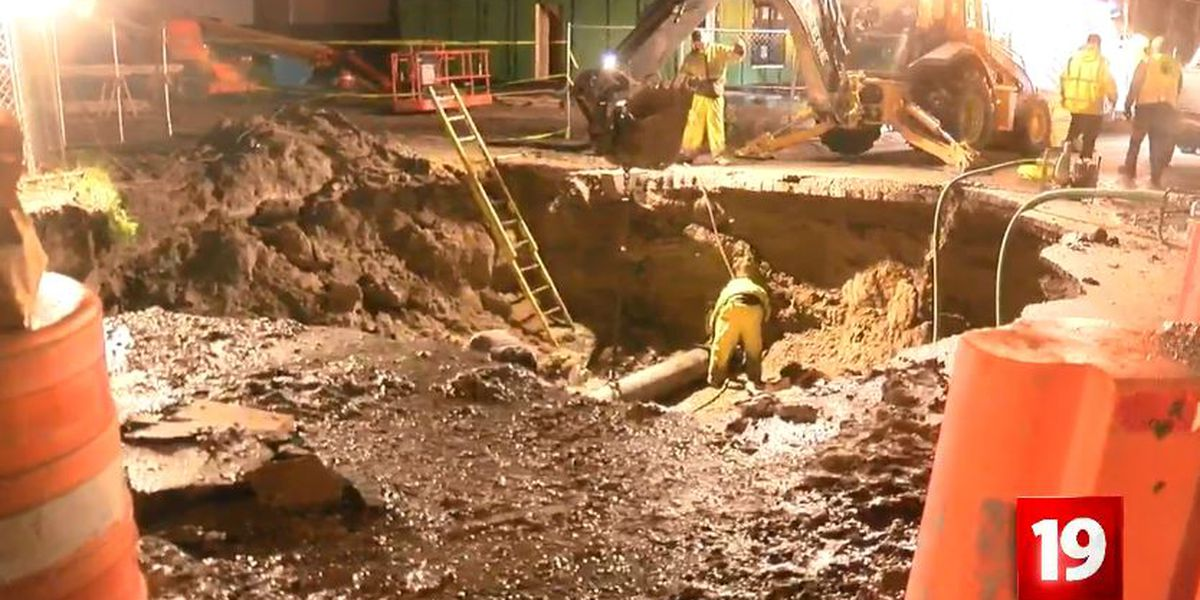Water service restored after giant sink hole closes road on Cleveland's West side