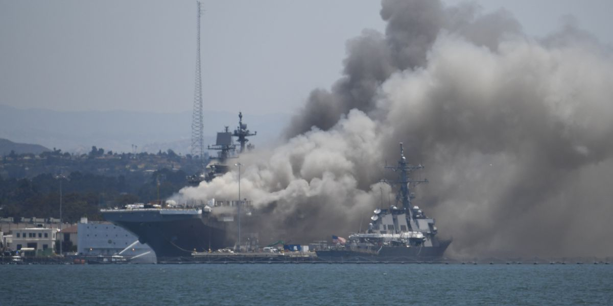 11 injured in fire aboard ship at Naval Base San Diego
