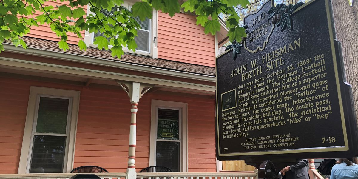 Historic marker of birthplace of Heisman Trophy namesake moved to correct location