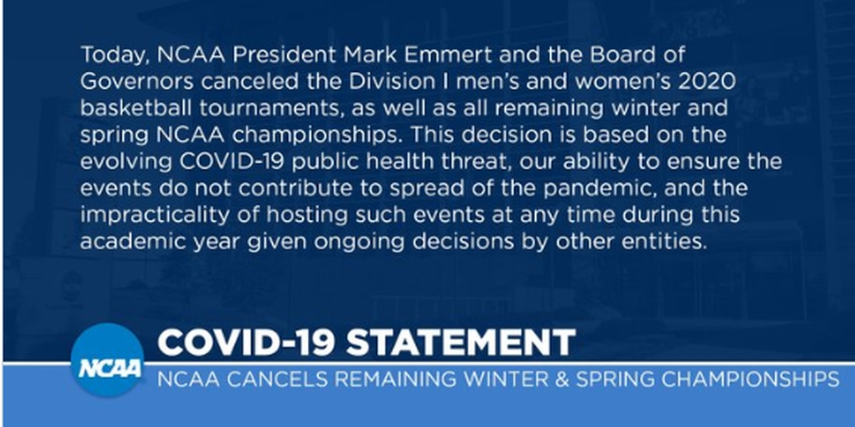 NCAA cancels men's and women's basketball tournaments, including March Madness due to COVID-19