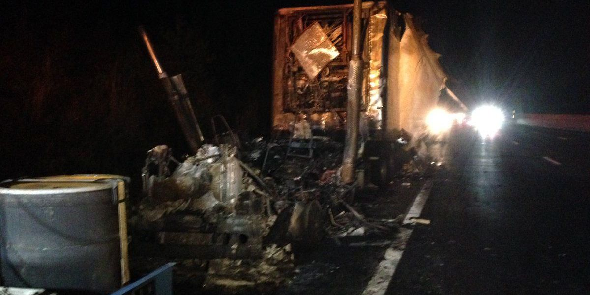 One lane of Turnpike closed after semi-truck fire