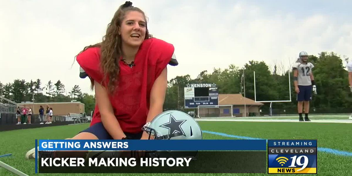 First girl kicker on Kenston football team scoring big points in the community