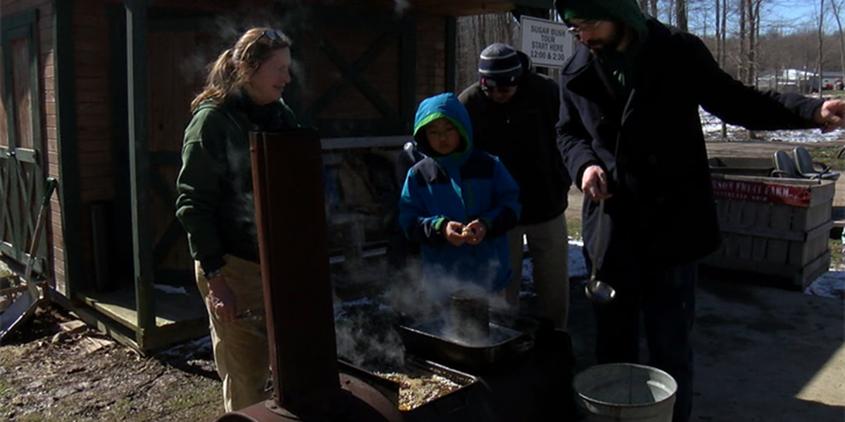 Children have the opportunity to learn how maple syrup is made in Kirtland