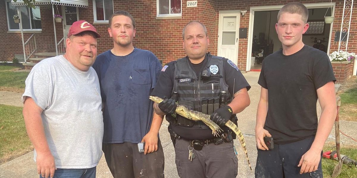 Lorain Police and plumber team up to wrestle lizard out of pipes