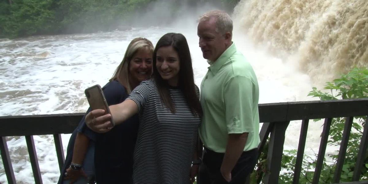 Chagrin Falls Waterfalls is attracting visitors wanting to see the huge volume of water