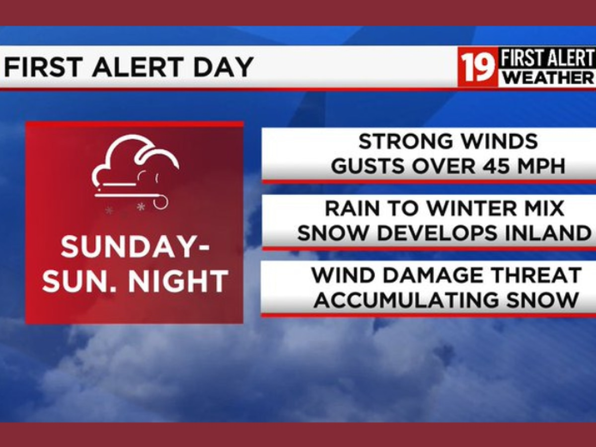 19 First Alert Weather Day: First accumulating snow for some on Sunday coupled with strong winds