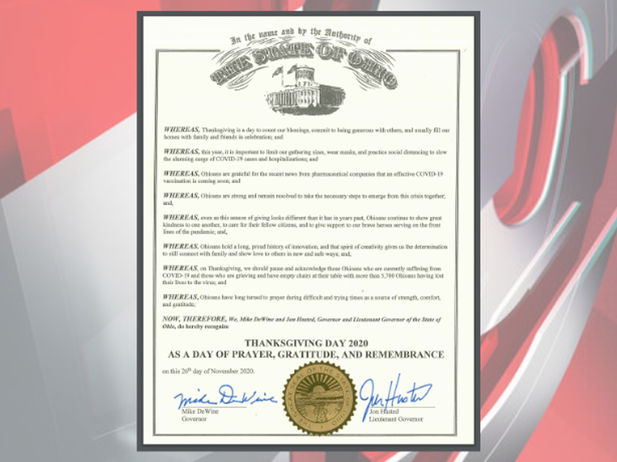 Gov. DeWine declares Thanksgiving 2020 in Ohio as a 'Day of Prayer, Gratitude, and Remembrance'