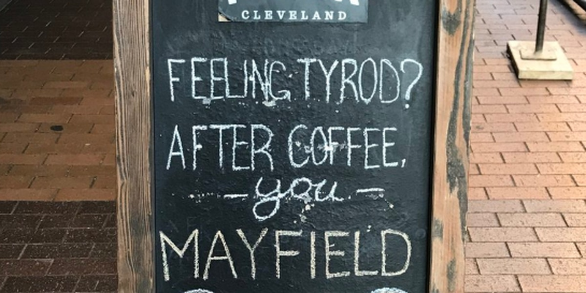Browns fans love this sign outside of Pour Cleveland